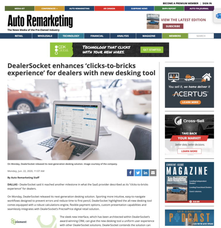 DealerSocket enhances 'clicks-to-bricks experience' for dealers with new desking tool